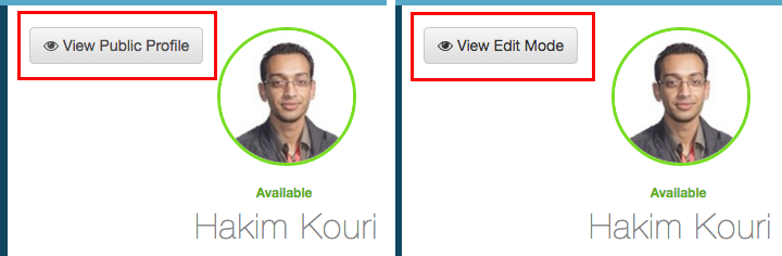 Ver perfil público o botón Editar modo