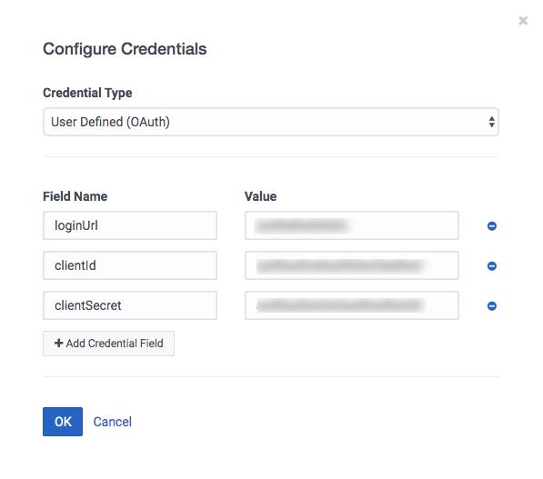 Configurar credenciales para definido por el usuario (OAuth)